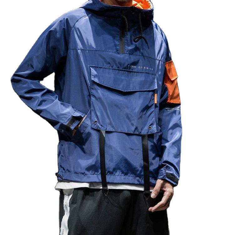 product-Wholesale Mens Fashion Jacket Half Zipper Pullover Streetwear Windbreaker Jacket-Ruiteng-img