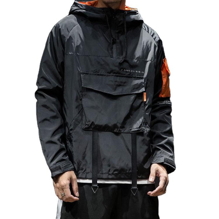 product-Ruiteng-Wholesale Mens Fashion Jacket Half Zipper Pullover Streetwear Windbreaker Jacket-img