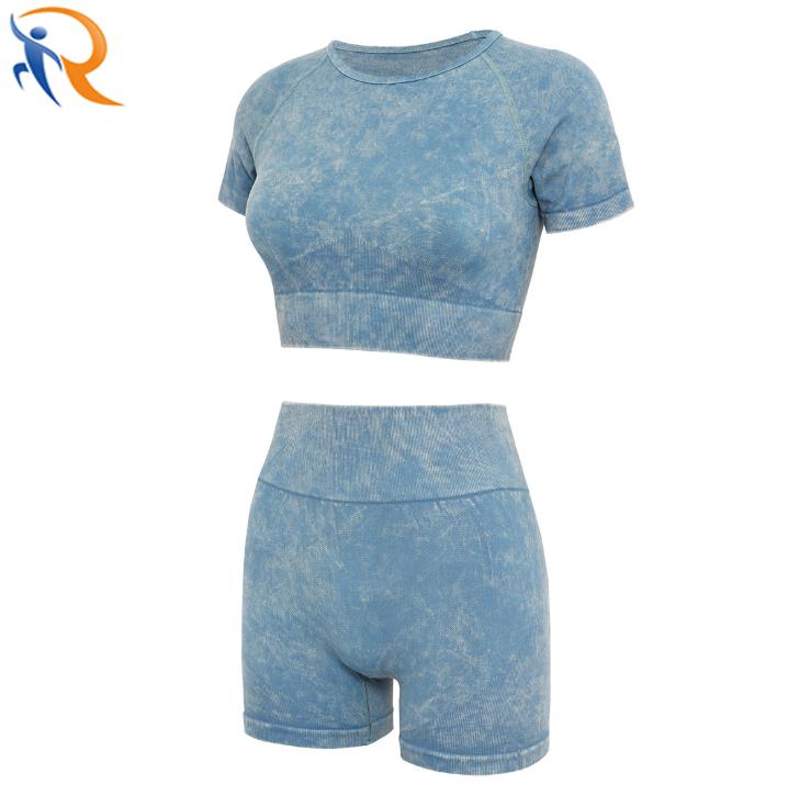 Women Sand Wash Crop Top Shorts Seamless Fitness Sportswear Yoga Set