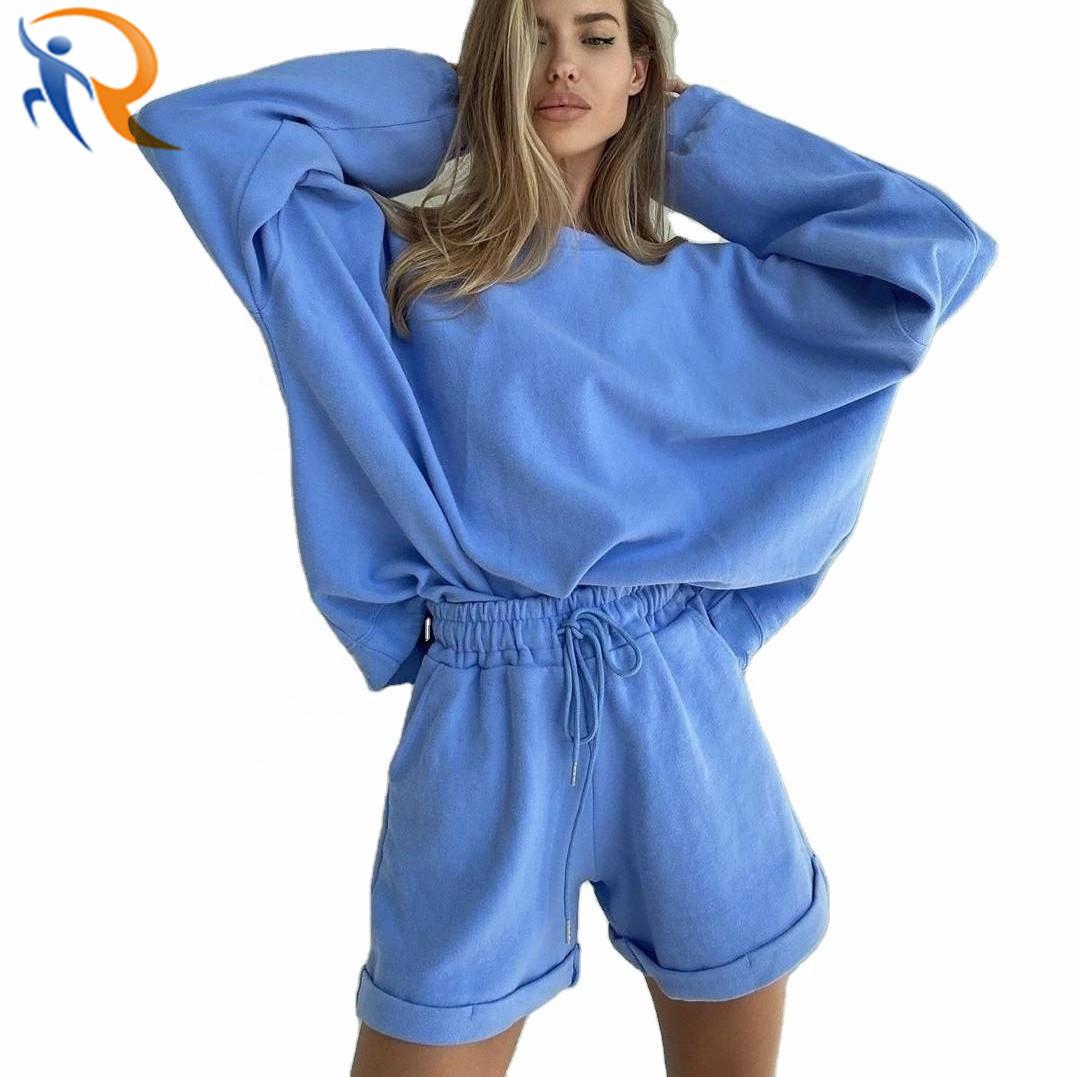 Women Matching Color Sweatshirt Shorts Loose Tracksuit