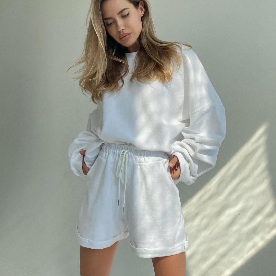 product-Women Matching Color Sweatshirt Shorts Loose Tracksuit-Ruiteng-img