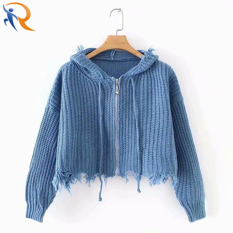 Women Knitted Crop Sexy Lapel Zipper Coats Women′s Sweaters with Zipper