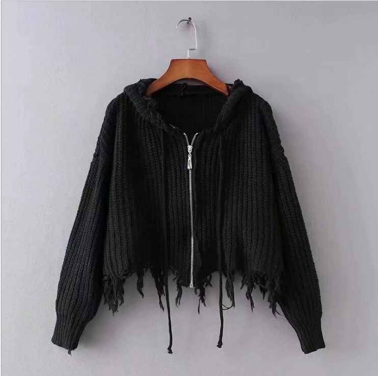 product-Women Knitted Crop Sexy Lapel Zipper Coats Womenprime;s Sweaters with Zipper-Ruiteng-img