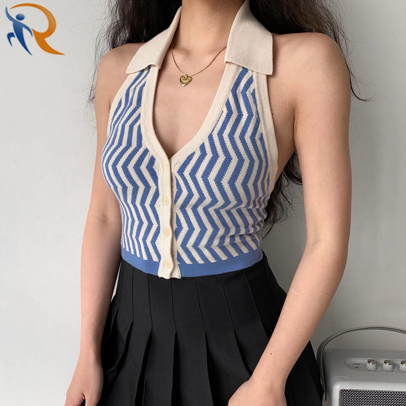 Women Summer Polo V Neck Wave Stripe Jacquard Sleeveless Knit Crop Top