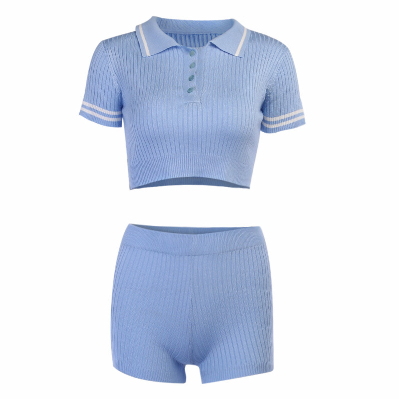 product-Women Tracksuit Knit Set Biker Shorts Outfits Polo Collar Crop Tops-Ruiteng-img