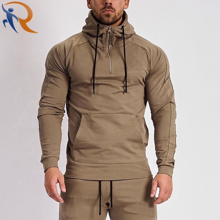 Wholesale Casual Men Solid Color Half Zipper Hoodies Fitness Active Wear