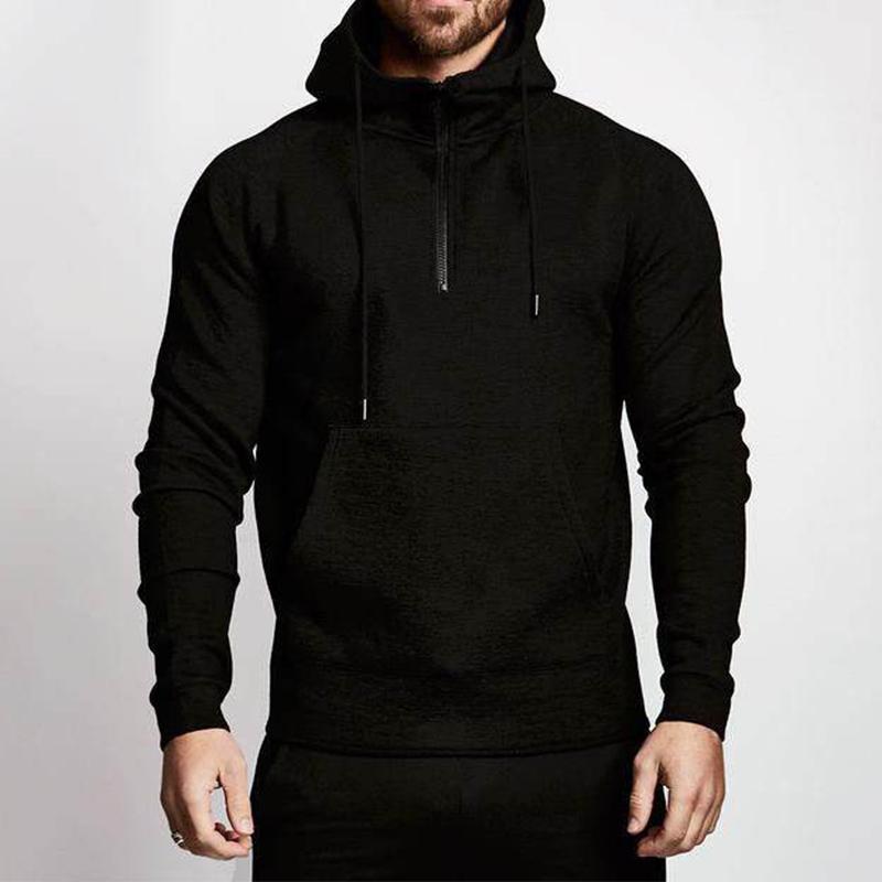 product-Wholesale Casual Men Solid Color Half Zipper Hoodies Fitness Active Wear-Ruiteng-img
