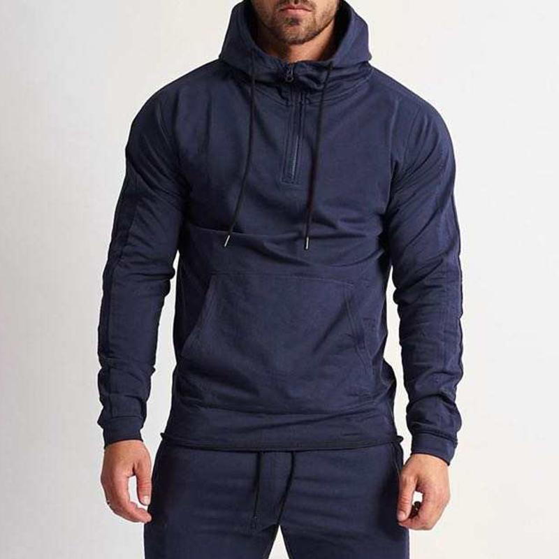 product-Ruiteng-Wholesale Casual Men Solid Color Half Zipper Hoodies Fitness Active Wear-img