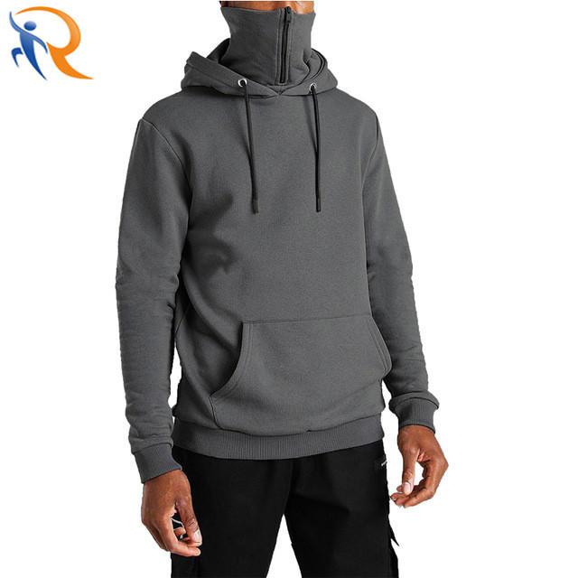 OEM Men′ S Hooded Masked Zipper Hoodie Streetwear Solid Color Oversized Fleece Hoodies