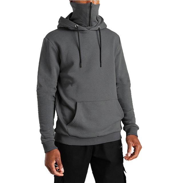 product-OEM Men′ S Hooded Masked Zipper Hoodie Streetwear Solid Color Oversized Fleece Hoodies-Ruite