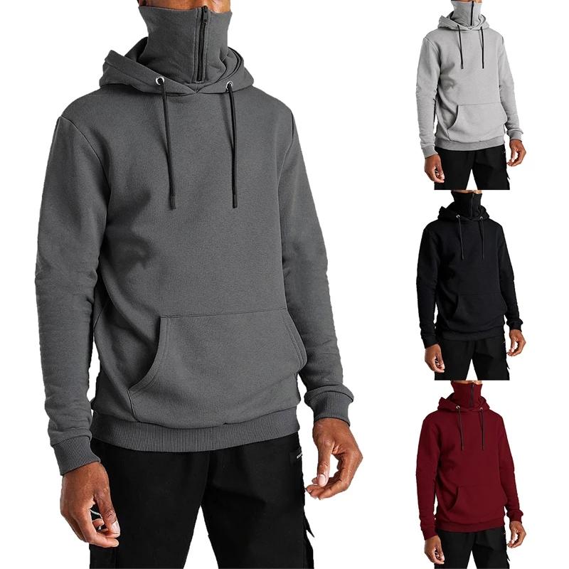 product-Ruiteng-OEM Men′ S Hooded Masked Zipper Hoodie Streetwear Solid Color Oversized Fleece Hoodi