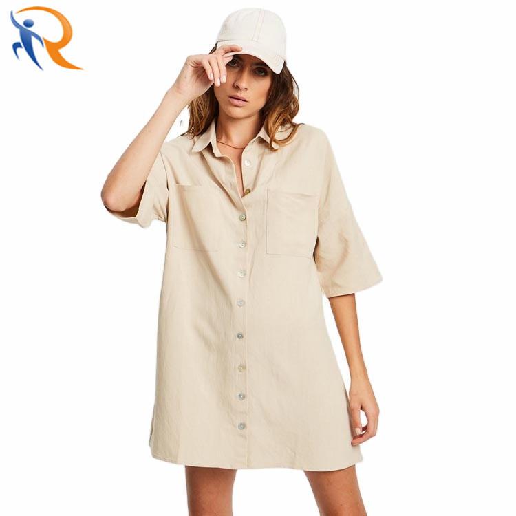 Women Fashion Style T-Shirt V Neck Loose Straight Dress