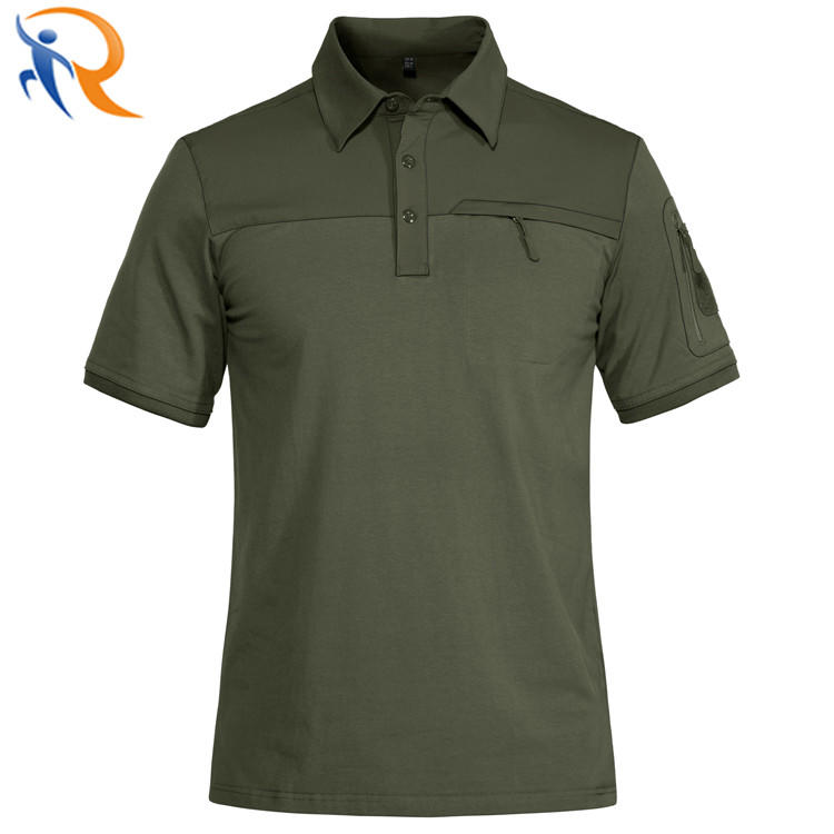 Men Fashion Workout Wear Solid Color Zipper Polo Shirt