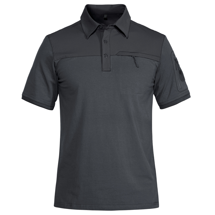 product-Men Fashion Workout Wear Solid Color Zipper Polo Shirt-Ruiteng-img
