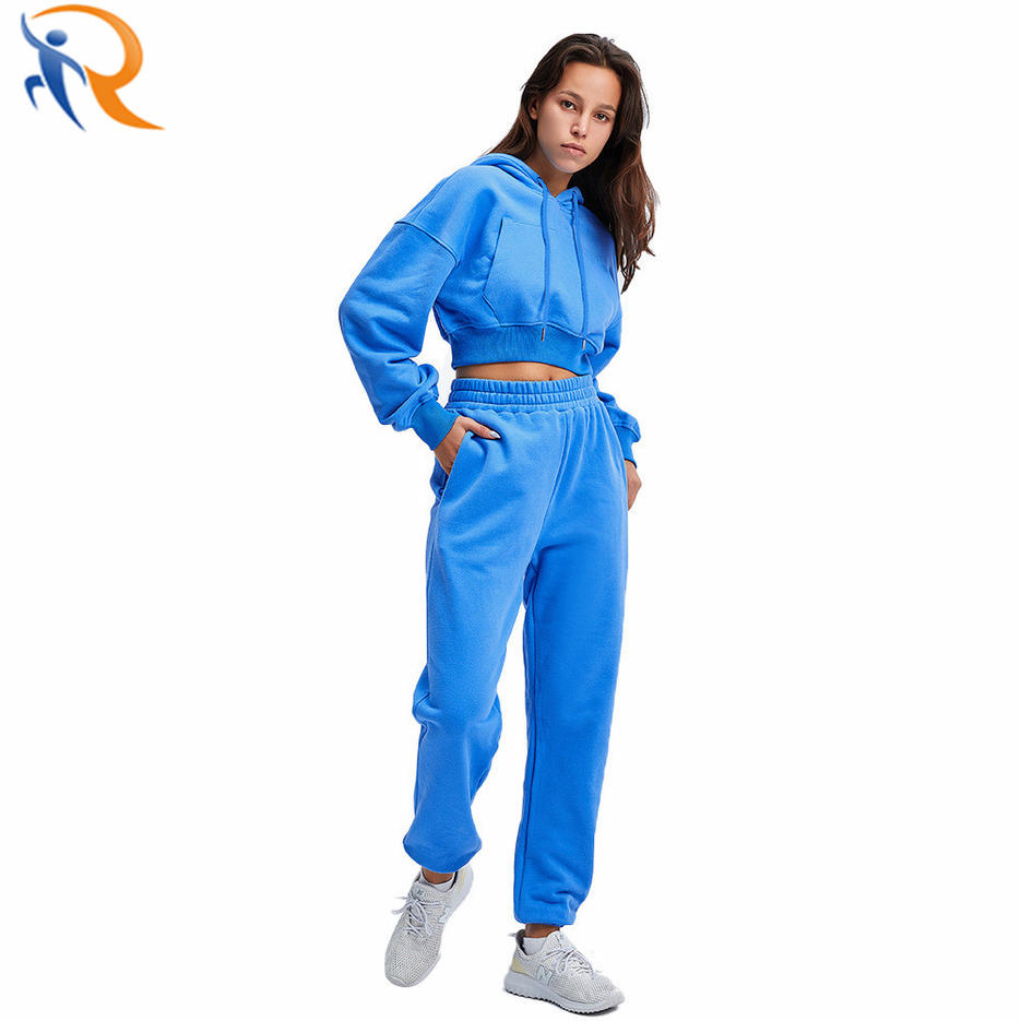 Wholesale Women High Quality Sweatshirt Suit Hoodies Long Sleeve Crop Suit