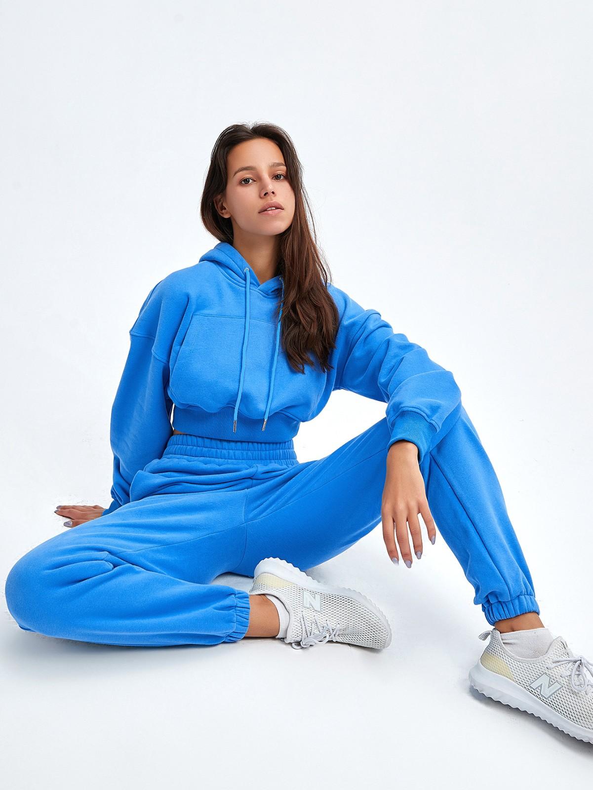 product-Wholesale Women High Quality Sweatshirt Suit Hoodies Long Sleeve Crop Suit-Ruiteng-img