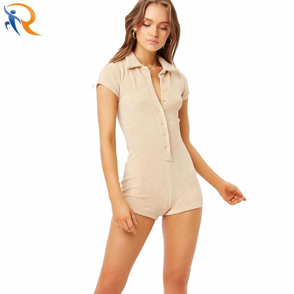Women Cotton Towel Jumper Suit Button Up Short Sleeve Terry Neckline Jumpsuit