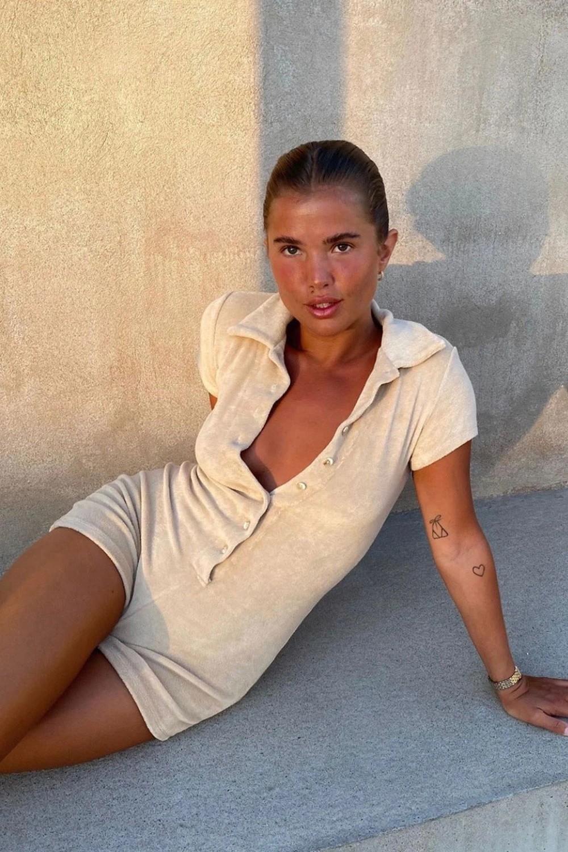 product-Women Cotton Towel Jumper Suit Button Up Short Sleeve Terry Neckline Jumpsuit-Ruiteng-img