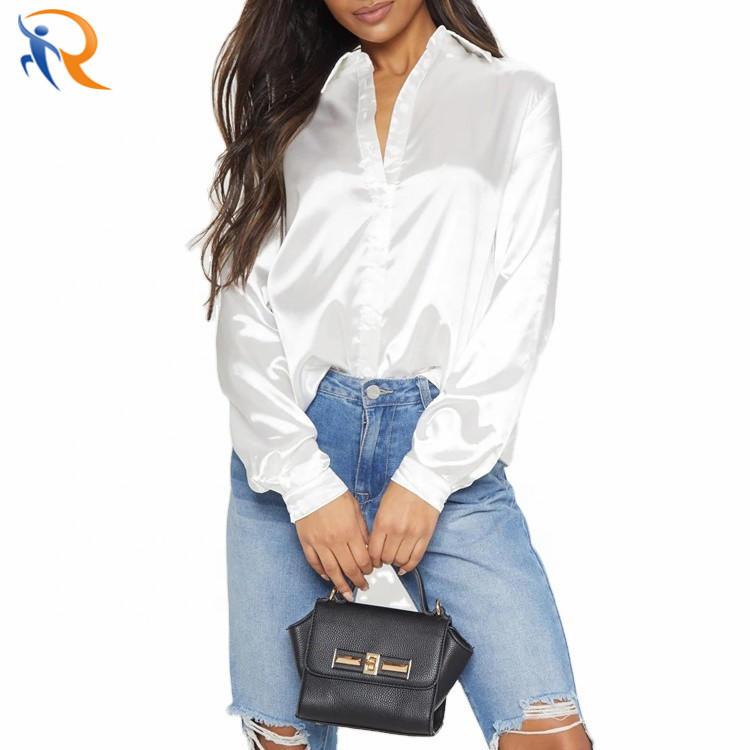 Stylish Satin Long Sleeve Button Front Curve Hem Women Shirt Office Ladies Elegant Blouse