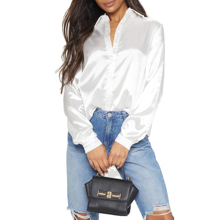 product-Ruiteng-Stylish Satin Long Sleeve Button Front Curve Hem Women Shirt Office Ladies Elegant B