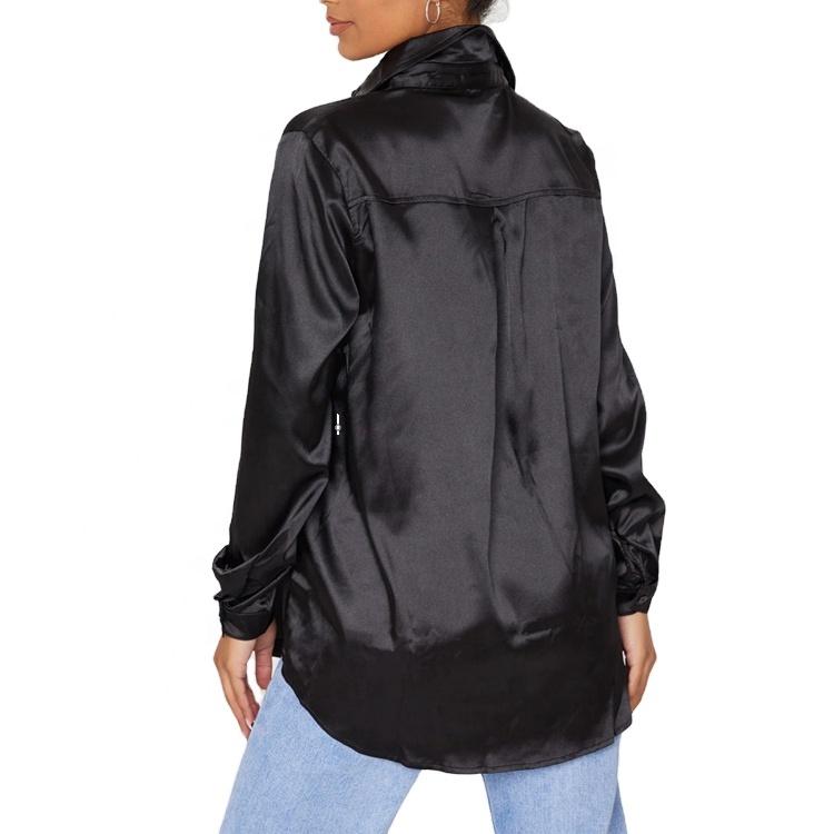 product-Stylish Satin Long Sleeve Button Front Curve Hem Women Shirt Office Ladies Elegant Blouse-Ru