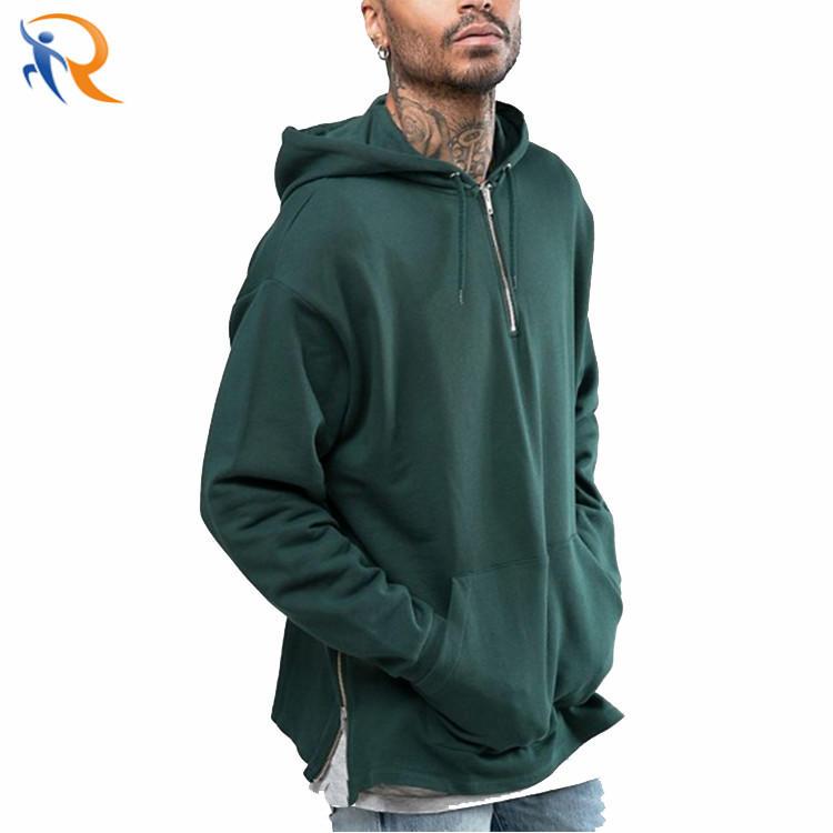 Men Women Fashion Solid Color Pullover Half Zipper Hoodies