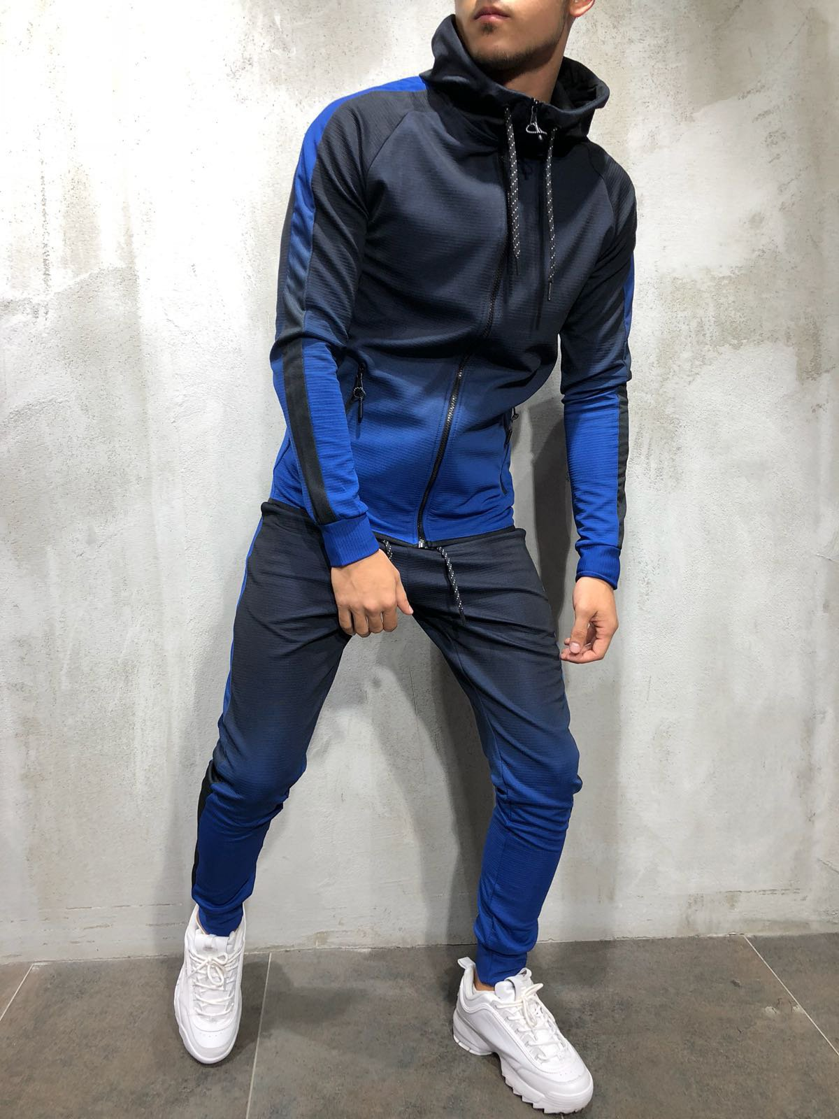 product-Men Wholesale Gym Fitness Wear 2 Piece Tracksuit Sport Jogging Set-Ruiteng-img