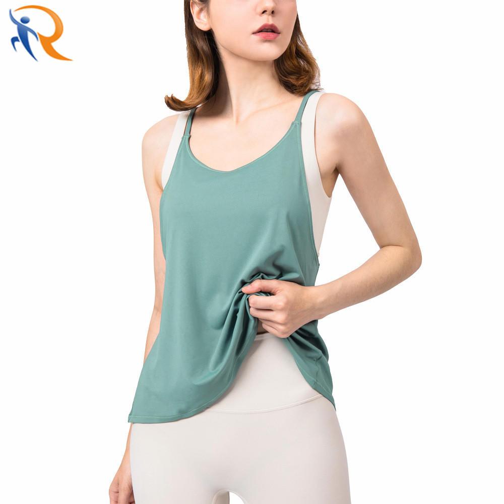 Women′s Gym Crew Neck T-shirt Vest Top Yoga Sleeveless Short Top Camisole Vest Sports