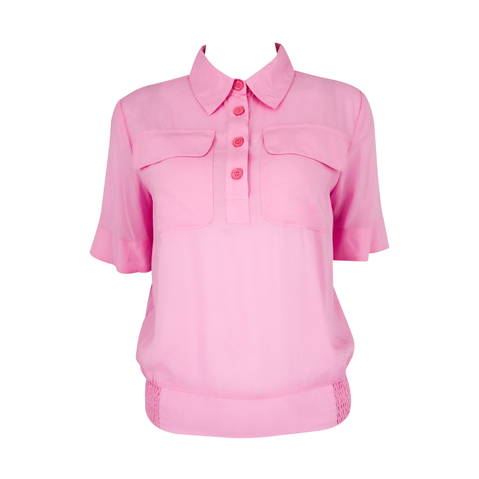product-Ruiteng-Women Casual Soft Viscose Shirt Short Sleeve Lady Top With Elastic Bottom And Chest