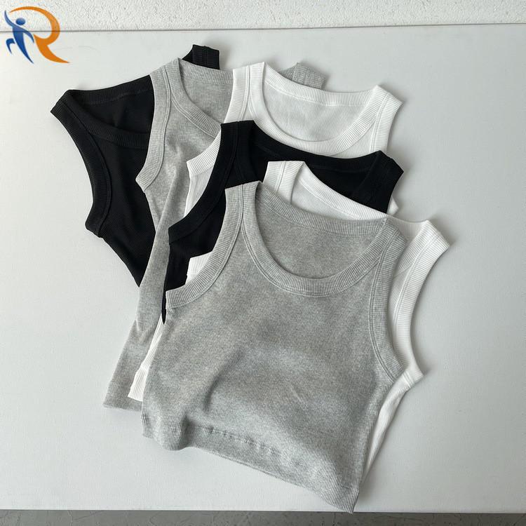 Ribbed Cotton Tank Tops for Women Blank Plain Crop Summer Slim Sports Vest Base Sleeveless
