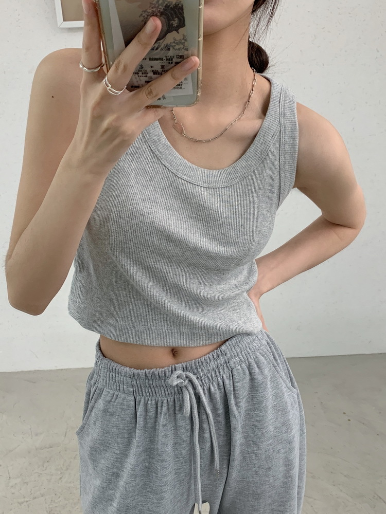 product-Ribbed Cotton Tank Tops for Women Blank Plain Crop Summer Slim Sports Vest Base Sleeveless-R