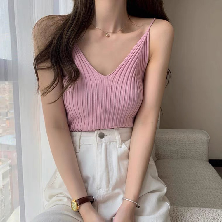 product-Summer New Knitted Slim Tank Top Woman Ladies T-shirt Lady Top Free Size-Ruiteng-img