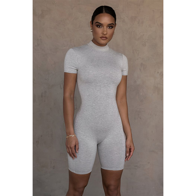 product-Ruiteng-Summer One Piece Bodysuits Short Sleeve Bodycon Jumpsuit with Zipper for Women-img