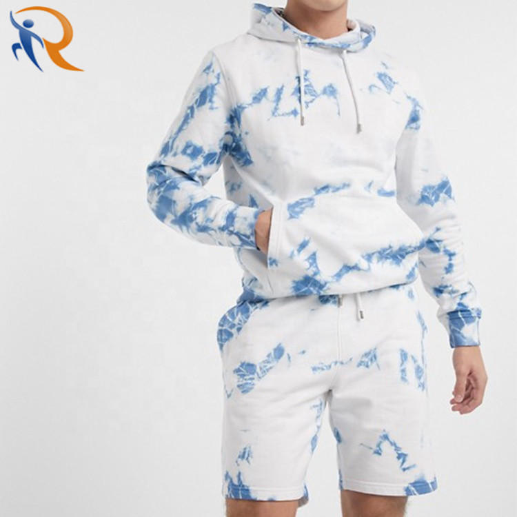 Tie Dyed Hoodie and Short Set for Men High Quality Autumn Tracksuit