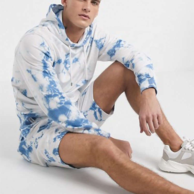 product-Ruiteng-Tie Dyed Hoodie and Short Set for Men High Quality Autumn Tracksuit-img