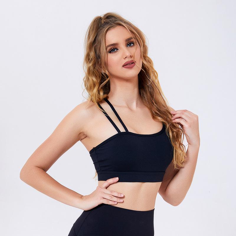 product-Women Fashion Irregular Sport Bra Fitness Top Gym Fitness Crop Top Push Up Sports Bra-Ruiten