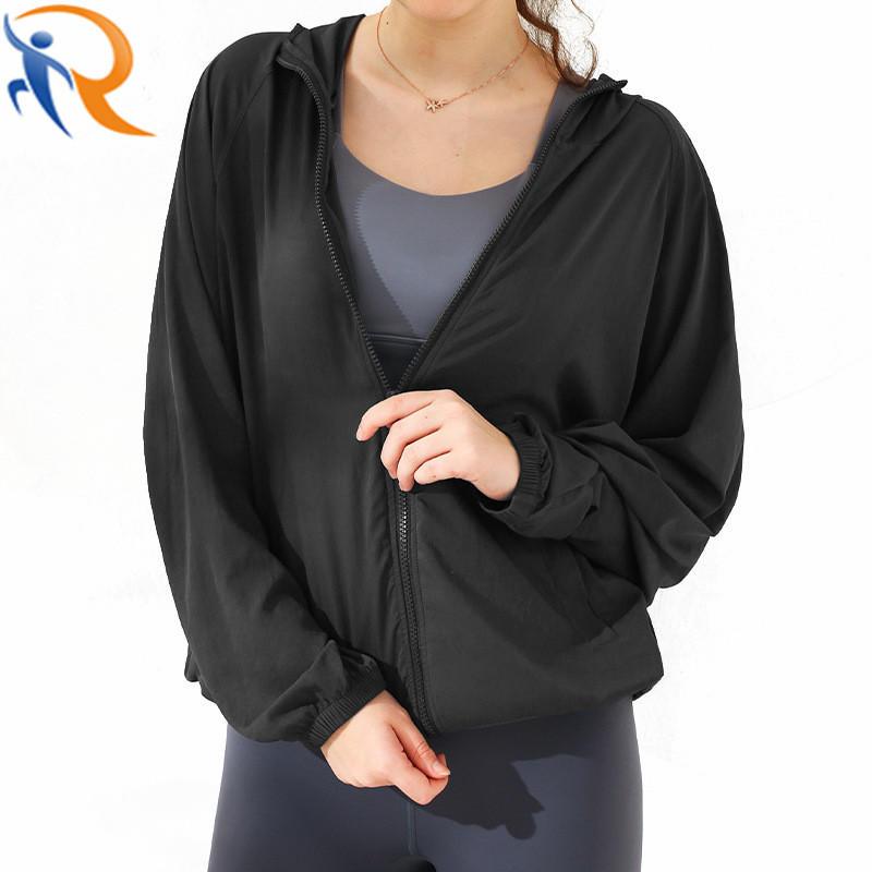Women Active Leisure Wear Hood Jacket Light Weight Sports Coats Full Zipper Yoga Jacket
