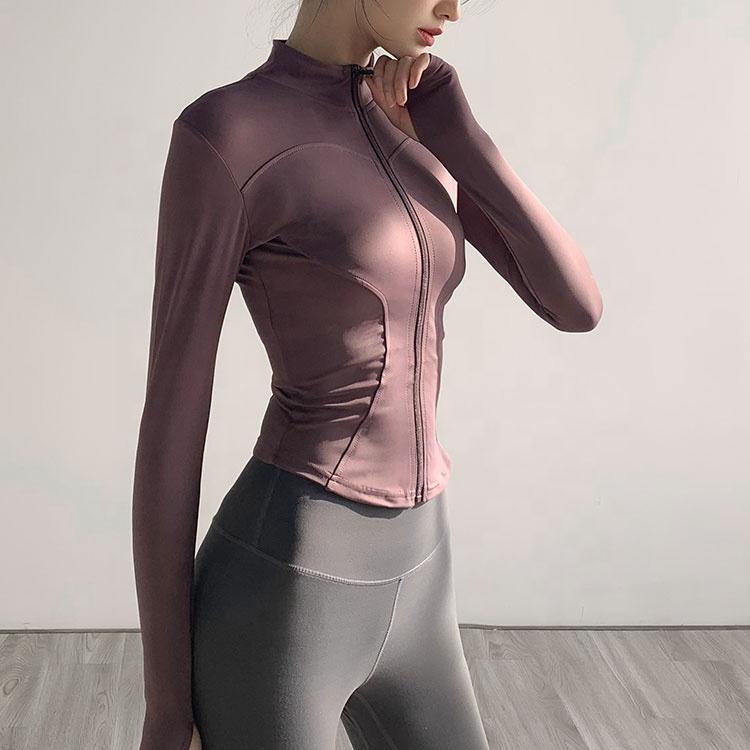 product-Women Slim Fit Tracksuit Workout Top Training Jackets Zipper Yoga Sports Coat-Ruiteng-img