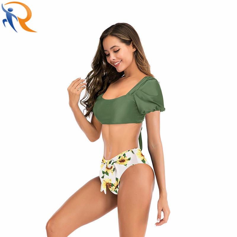 Female Wholesale Sexy Bubble Sleeve Backless Sweet Swim Wear Bikini Set