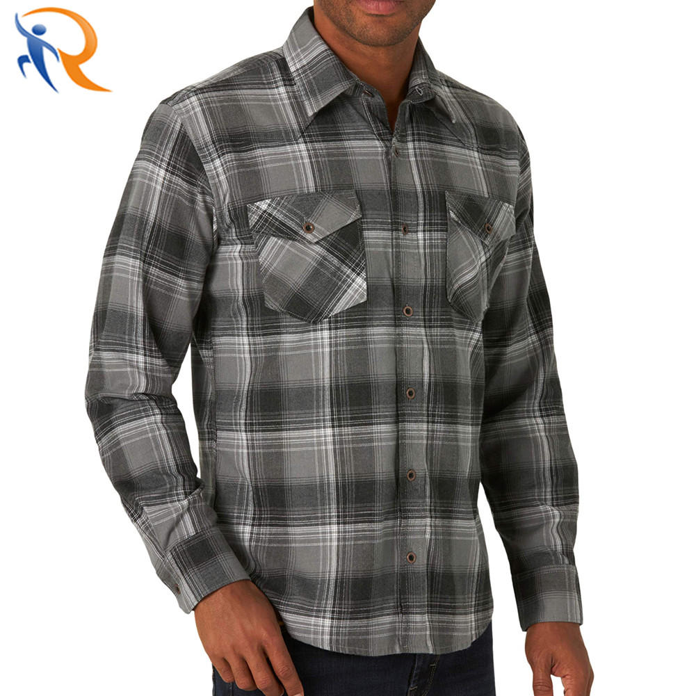 Male Breathable Casual Flannel Shirts Long Sleeve Polyester Shirts with Buttons