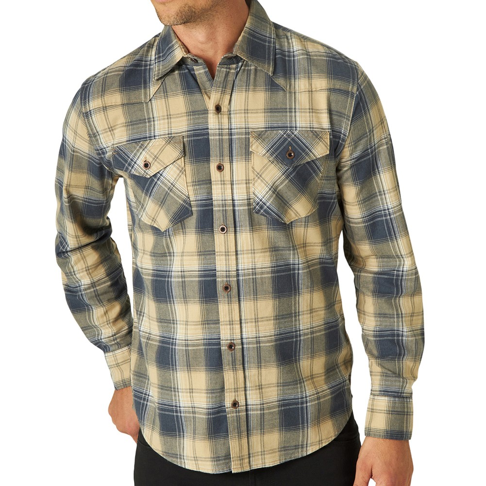 product-Male Breathable Casual Flannel Shirts Long Sleeve Polyester Shirts with Buttons-Ruiteng-img