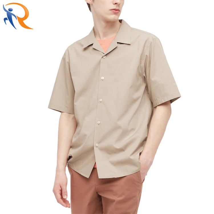 100% Cotton Custom Design Camp Collar Short Sleeve Button Up Vacation Men Shirts