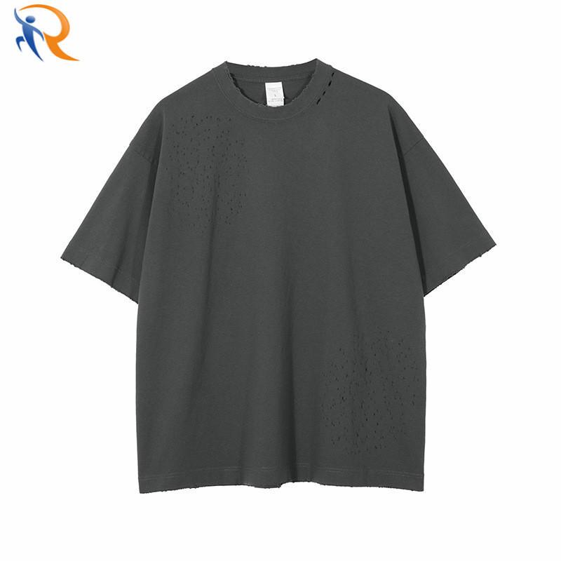 Wholesale Unisex Solid Color Short Sleeve Oversize Streetwear Washed Plaid T-shirt