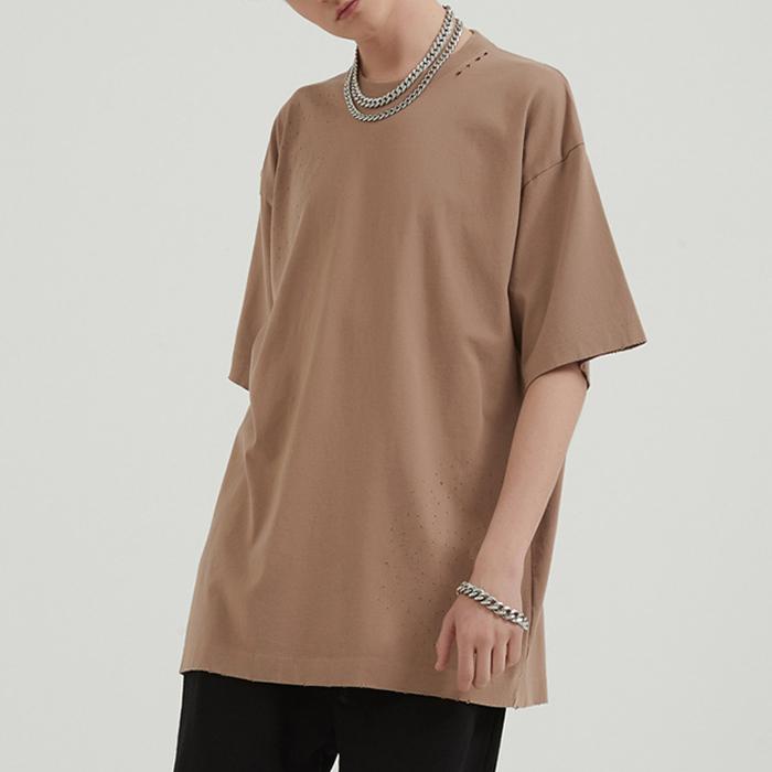 product-Wholesale Unisex Solid Color Short Sleeve Oversize Streetwear Washed Plaid T-shirt-Ruiteng-i