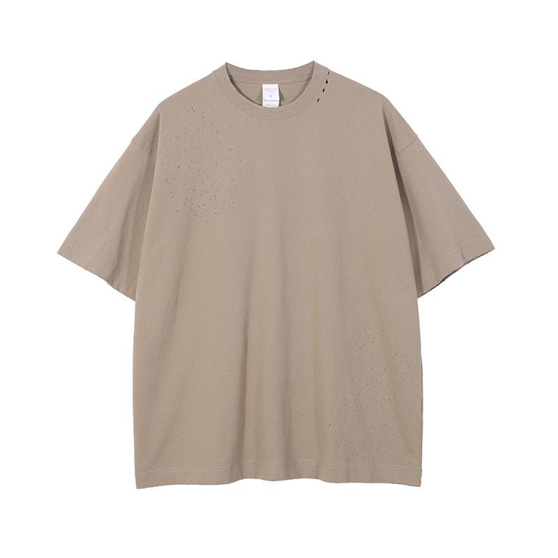 product-Ruiteng-Wholesale Unisex Solid Color Short Sleeve Oversize Streetwear Washed Plaid T-shirt-i