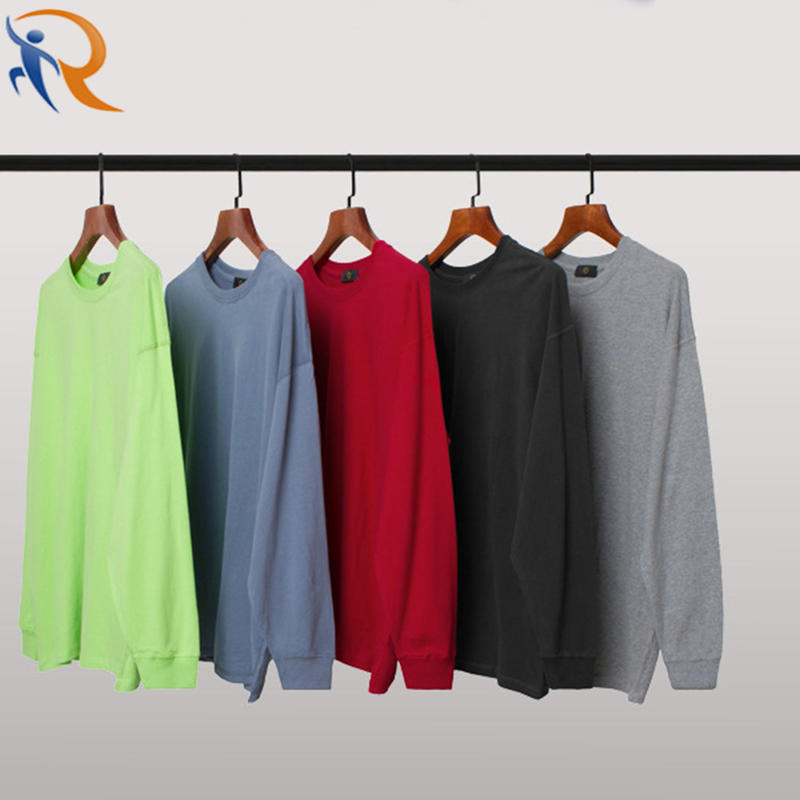New Simple Design Solid Color Customized Long Sleeve Oversize Unisex T-shirt