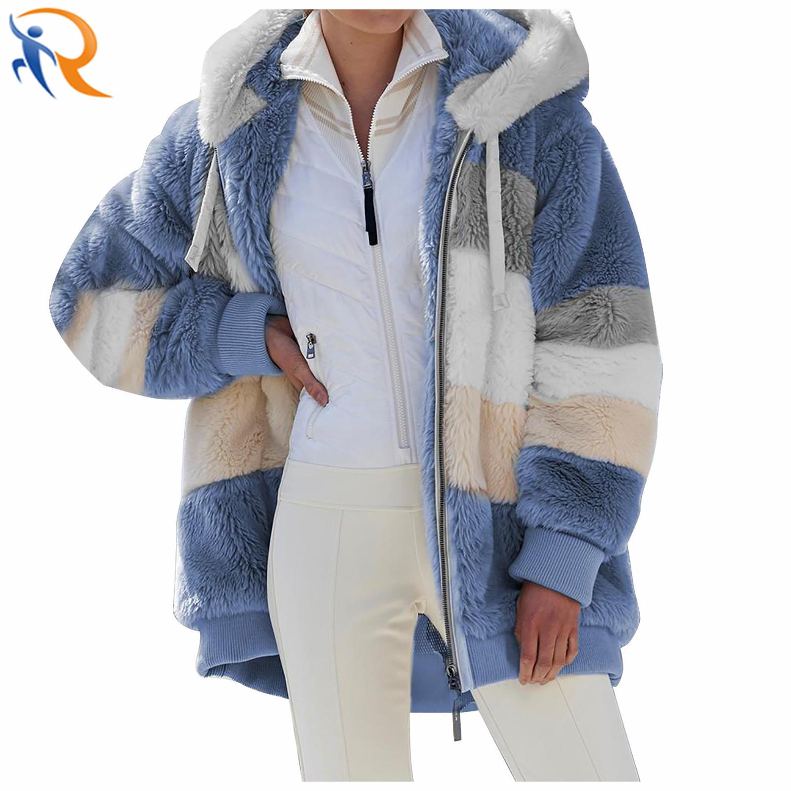 2021 Women Winter Zipper Long Sleeve Fleece Plush Jacket Hooded Woolen Coat