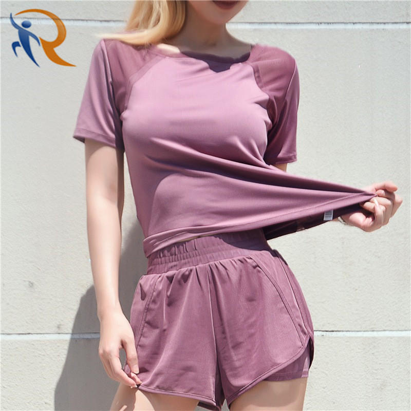 Women Mesh Stitching Loose Short Sleeve Breathable Quick-Drying Sports Yoga Suit Fitness Shorts Set