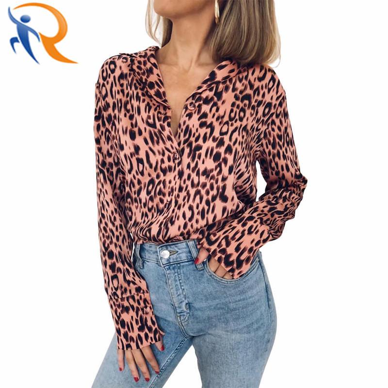 Fashion Women Long Sleeve Tops Turn-Down Collar Leopard Print Chiffon Shirt