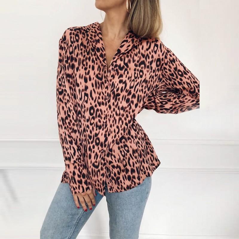 product-Fashion Women Long Sleeve Tops Turn-Down Collar Leopard Print Chiffon Shirt-Ruiteng-img